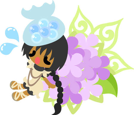 An ill girl and an ornament of hydrangeas
