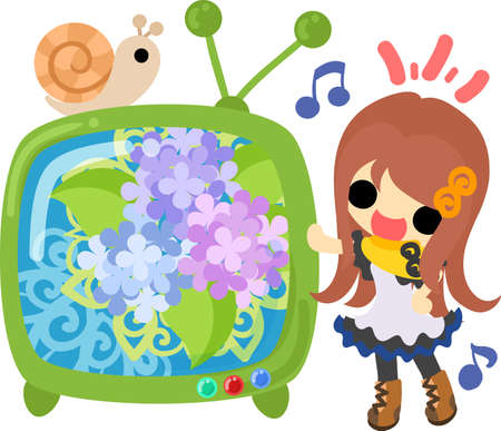 A cute girl and a TV program of hydrangeas Illustration