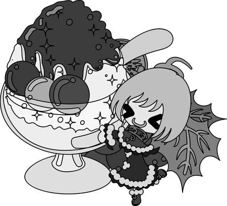 A cute illustration of a little girl and the shaved ice of the grapes