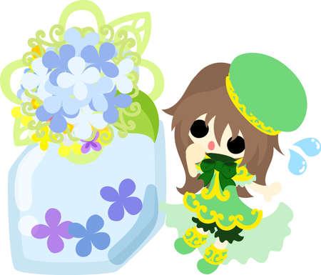 A cute girl and a empty bottle of hydrangeas