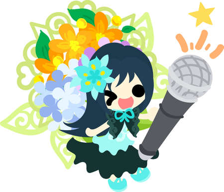 A cute girl who holds out a microphone and an ornament of hydrangeas
