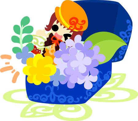 A cute girl and a jewel box of hydrangeas