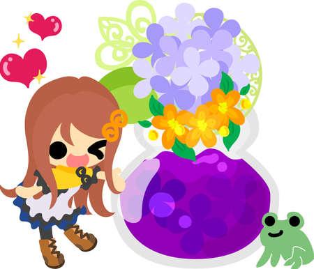 A cute girl and jam of hydrangeas