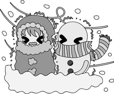 The cute illustration of winter and girls