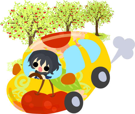 A cute little girl and a car of cherry