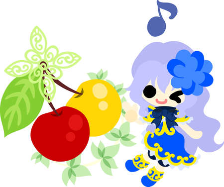 A cute little girl and an ornament of cherry Illustration