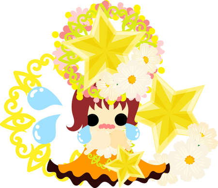 A cute crying girl and a crown of stars