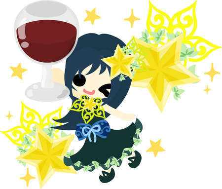 A cute little girl who is drinking juice  and an ornament of stars