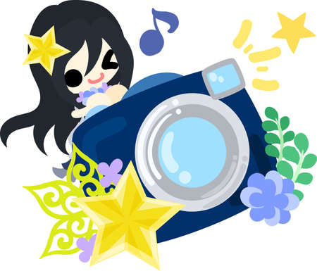 A cute little girl and a camera of stars Illustration