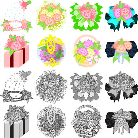 The cute icons of flower objects such as shower and ribbon and present and crystal and basket