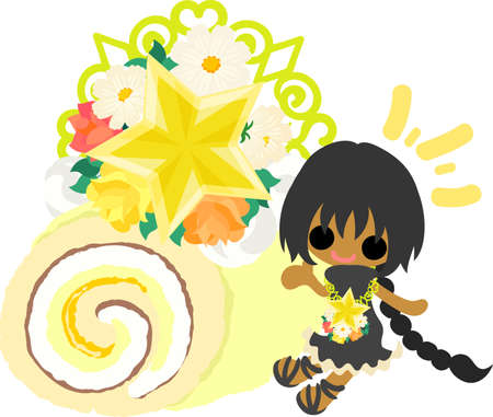 A cute little girl and a roll cake of stars Illustration