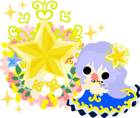 祈っているかわいい少女と星の飾り  イラスト・ベクター素材