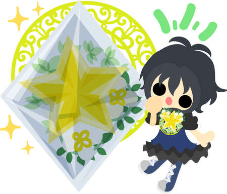 A cute little girl and a crystal of stars Illustration