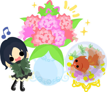 A cute little girl and a goldfish bowl and a vase