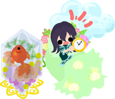 A cute little girl who overslept and a goldfish bowl