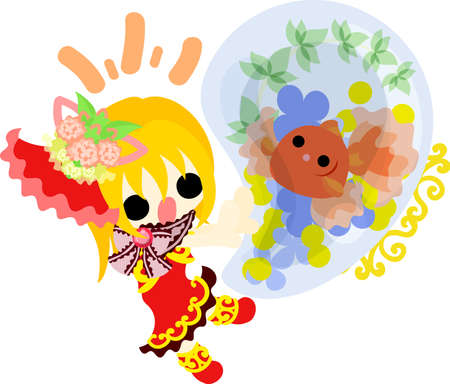 A cute little girl in a red dress and a goldfish bow Illustration