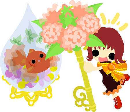 A cute little girl and a goldfish bowl and a flower key. Illustration