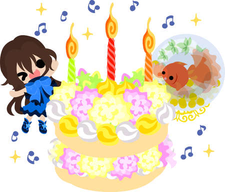 A cute little girl and a goldfish bowl and a birthday cake. Illustration