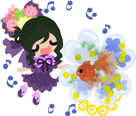 A cute little girl who is singing a song and a goldfish bowl.