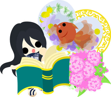 A cute little girl who is reading a book and a goldfish bowl. Vettoriali