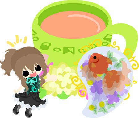 A cute little girl and a goldfish bowl. Illustration