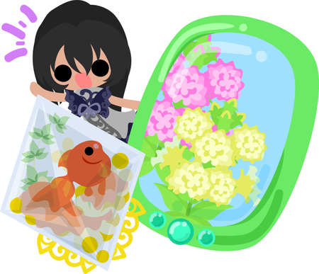 A cute little girl and a goldfish bowl and a smart phone.
