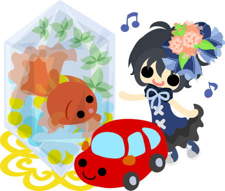 A cute little girl and a goldfish bowl and a car of toy.