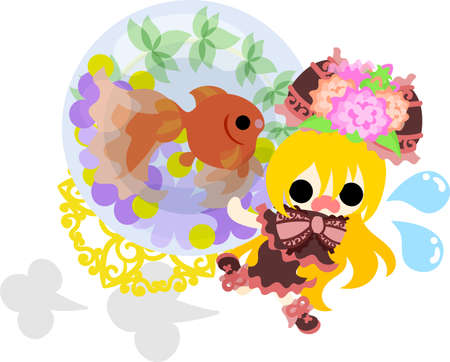 A cute little girl who runs hastily and a goldfish bowl. Illustration