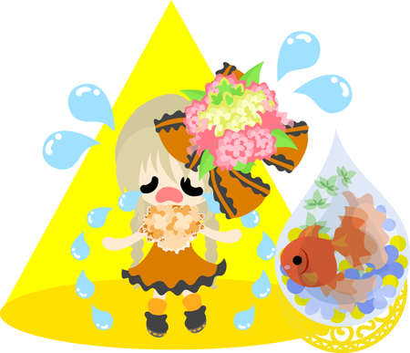 A cute little girl in sad and a goldfish bowl. Illustration