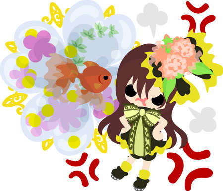 A cute little girl in anger and a goldfish bowl