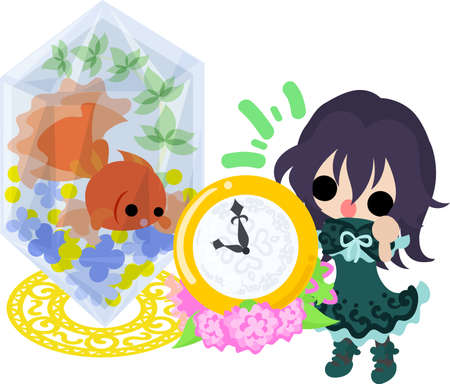 A cute little girl and a goldfish bowl and a clock