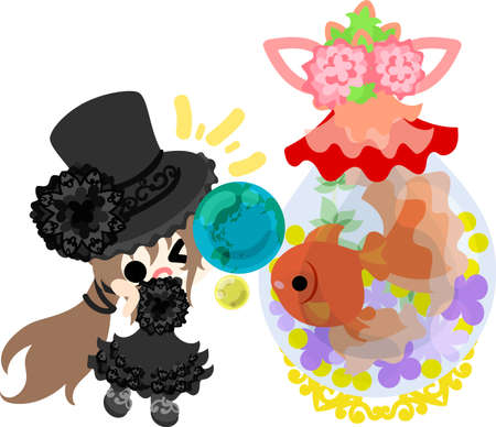 A cute silk hat girl and a goldfish bowl and a jewel of the earth Illustration