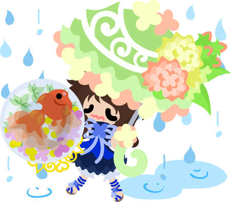 A cute little girl and a goldfish bowl and an umbrella in rain