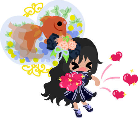 A cute little girl who gives up hearts and a goldfish bowl Illustration