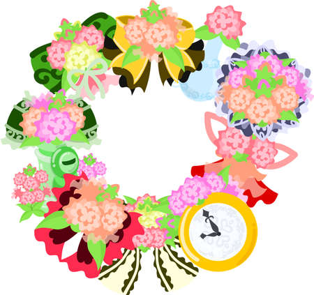 The frame that is made with various miscellaneous goods of flower Illustration