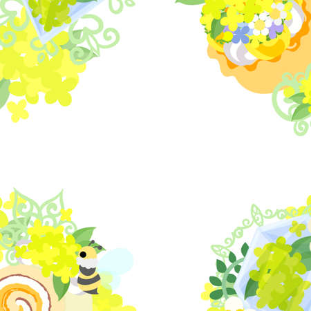 miscellaneous goods: The frame that is made with yellow flower objects