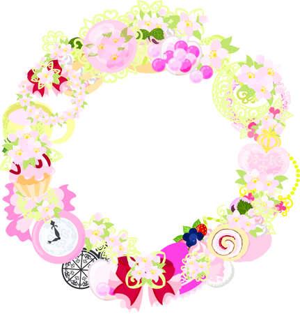 桜の様々 な雑貨を作られているフレーム  イラスト・ベクター素材