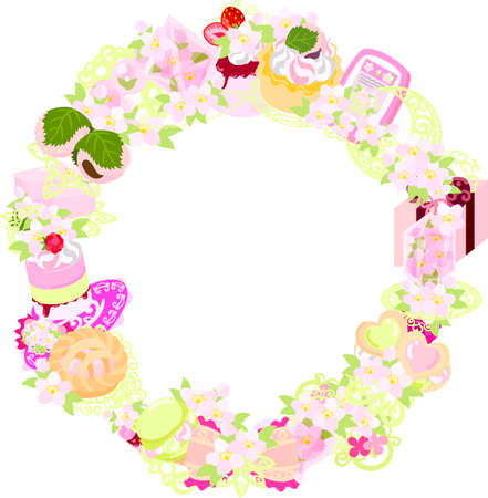 miscellaneous goods: The frame that is made with various miscellaneous goods of cherry blossom Illustration