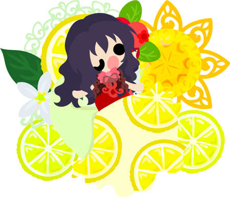 A bed of lemons and a cute little girl Illustration