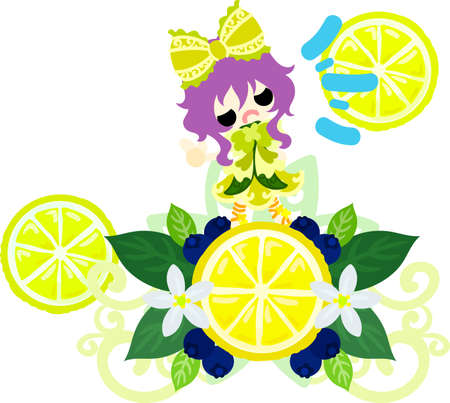 An ornament of lemons and a cute little girl