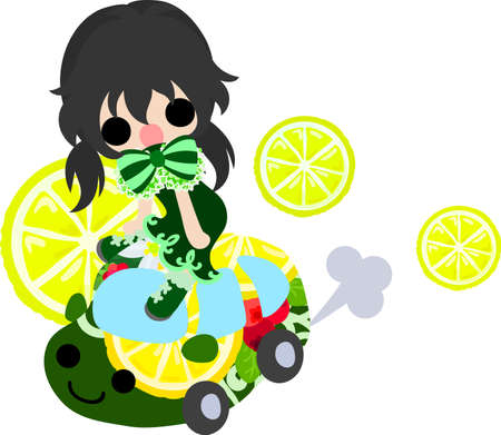 A car of lemons and a cute little girl