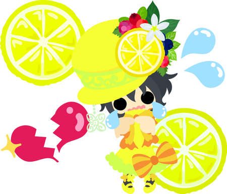 A hat of lemons and a cute little girl in lost love Illustration