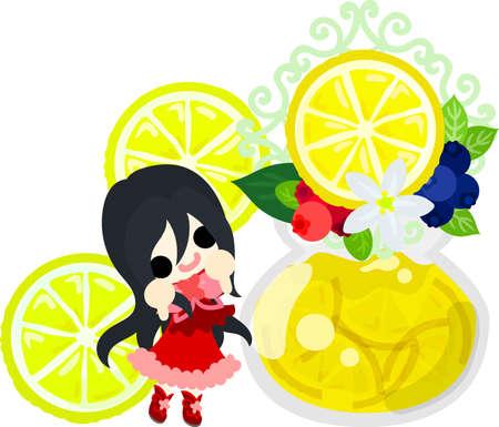 Jam of lemons and a cute little girl