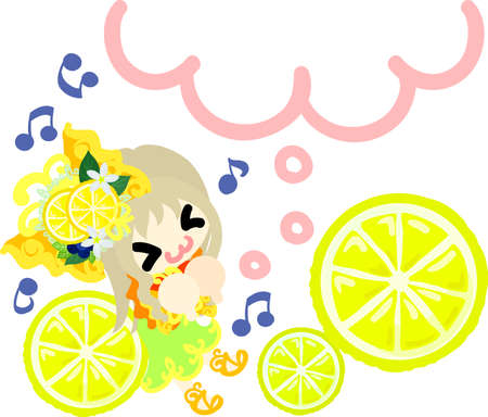 The illustration that the girl who put on the ribbon of the lemon thinks about something good Illustration
