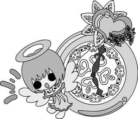 Pretty angel and clock