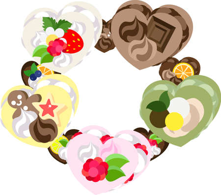 postcard: Frame made with various sweets of heart