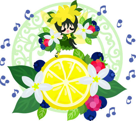 The illustration of a cute fairy and a lemon ornament