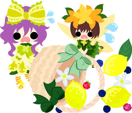 A cute girl and a cute fairy and a basket of lemons Çizim