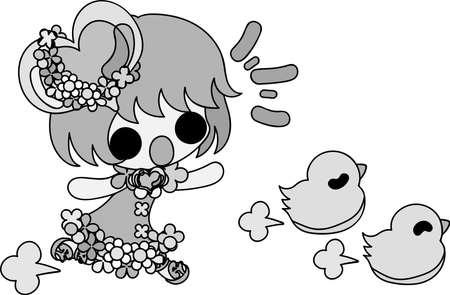 Een meisje op zoek naar kuikens Stock Illustratie