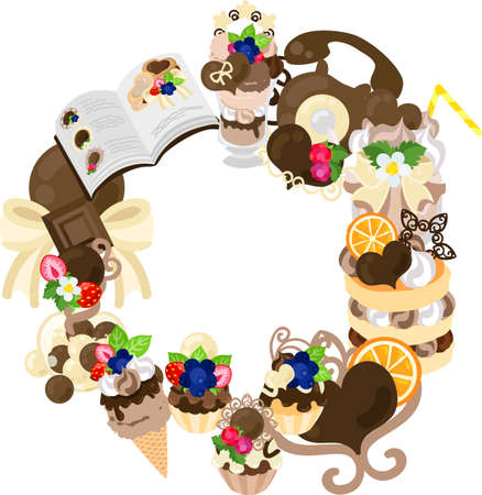 The frame that is made with various miscellaneous goods of chocolate sweets